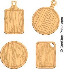 set of empty wooden cutting boards - set of empty wooden...