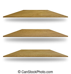 set of empty wooden shelves isolated on white background