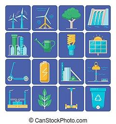 Set of energy and ecology flat icons
