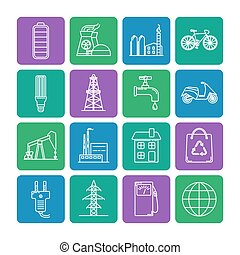 Set of energy and ecology line icons