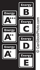 set of energy class tag - illustration
