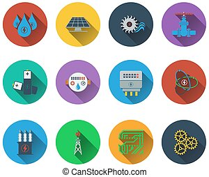 Set of energy icons