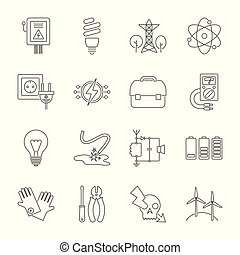 Set of energy icons in modern thin line style. High quality black outline electicity symbols for web site design and mobile apps. Simple energy pictograms on a white background. Editable Stroke.