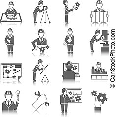Set of construction industry engineer worker icons in gray color with reflection vector illustration