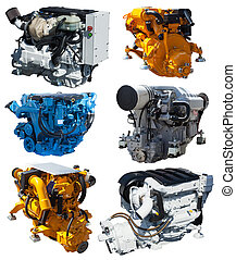 Set of engines. Isolated over white
