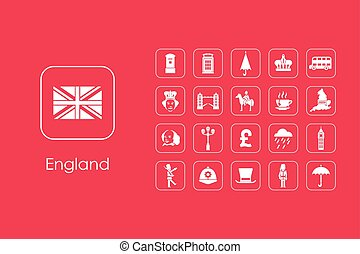 Set of England simple icons - It is a set of England simple...