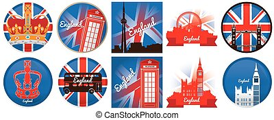Set of england, vector illustration