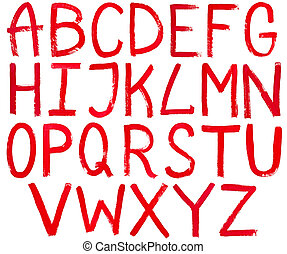 set of english capital letters hand written by red paint on white background
