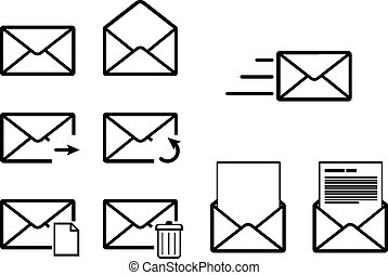 Set of envelope outline icons for mail interface on white