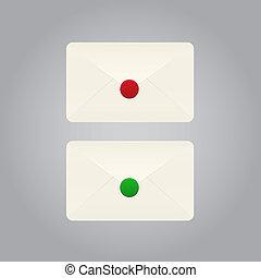 Set of envelopes - Set of vector envelopes on grey...