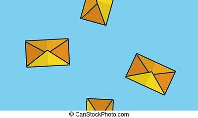 set of envelopes rain animation