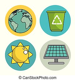 set of enviromental recycle ecology icon