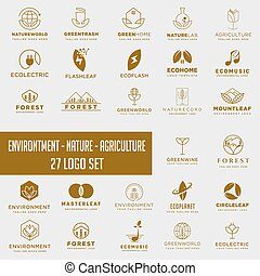 set of environment agriculture logo with gold color , icon element collection logo download