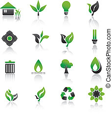 Set of environmental green icons.