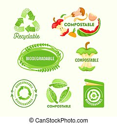 Set of Environmental Labels, Recyclable Triangle Sign, Compostable Waste, Biodegradable Garbage Litter Bin. Logo Icons Collection Management of Trash, Re-create New Materials. Vector Illustration