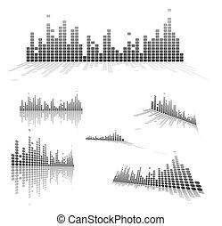 Set of Equalizers on white background. Vector illustration