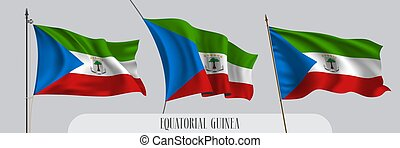 Set of Equatorial Guinea waving flag on isolated background ...