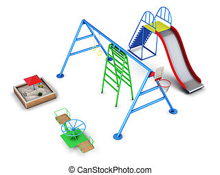 Set of equipment in a playground. 3d render image