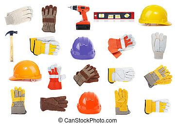 Set of erection tools on a white background