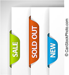 Set of eshop tags for new, sale and sold out items - blue, ...