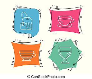 Espresso, Tea bag and Cappuccino icons. Wine glass sign. Coffee cup, Brew hot drink, Cabernet wineglass.
