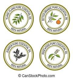 Set of essential oil labels