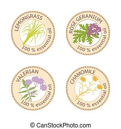 Set of 100 percent essential oils labels. Rose Geranium, lemongrass, Chamomile, Valerian symbols. Vector illustration. Brown stamps. For stickers, spa, aromatherapy, price tags, labels, banner poster