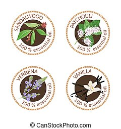 Set of 100 essential oils labels. Sandalwood, patchouli, verbena, vanilla symbols. Logo collection. Vector illustration. Brown stamps, realistic. For cosmetics health care aromatherapy cosmetics