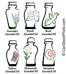 Set of essential oils. Part 2 - Set of conceptual bottles of...