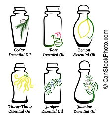 Set of essential oils - Set of conceptual bottles of...