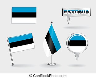 Set of Estonian pin, icon and map pointer flags. Vector ...