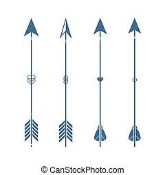 Set of ethnic 4 arrow isolated on white background.