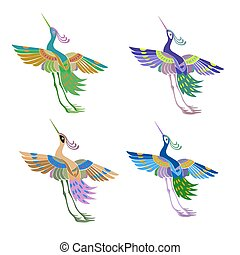 Ethnic abstract pattern magic birds in the Japanese style.