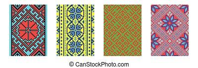 Set of ethnic background in cross-stitch style. Traditional ukrainian decor.