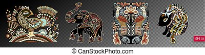 set of ethnic decorative animals and birds in ukrainian traditio