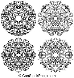 Set of ethnic round ornaments.