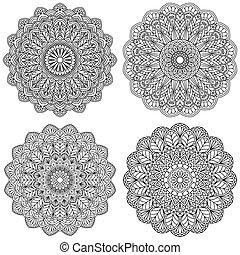 Set of ethnic round ornaments. Mandala.