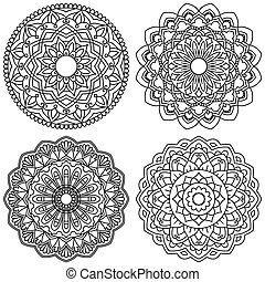 Set of ethnic round ornaments. Mandala.