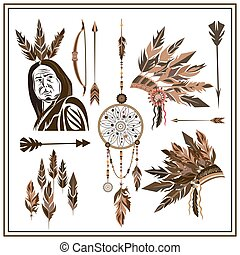 Set of ethnic style arrows, feathers, beads, bow, injun