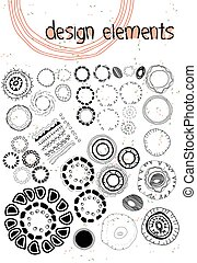 Set of ethnographic design elements doodle background