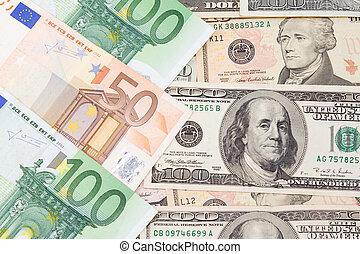euro and dollar banknotes - set of euro and dollar banknotes