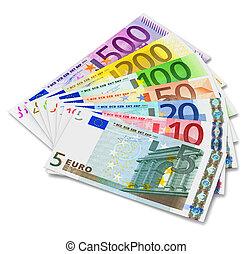 Set of Euro banknotes