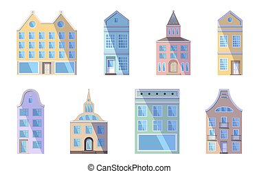 Set of European bright colored old houses, shops and factories in the traditional Dutch town style. Vector illustration in the flat style isolated on a white background. Design elements for a banner.