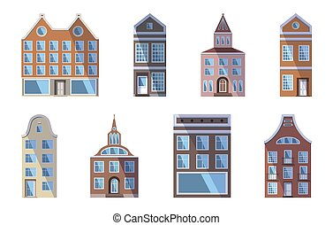 Set of European colored old houses, shops and factories in the traditional Dutch town style. Vector illustration in the flat style isolated on a white background. Design elements for a banner.