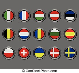 set of European flags