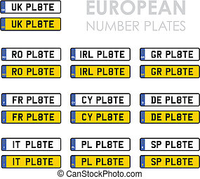european number plates - set of european number plates