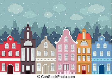 Set of European style colorful cartoon buildings in winter. Isolated hand drawn houses for your design.