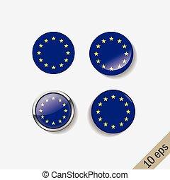 Set of European Union flags round badges.