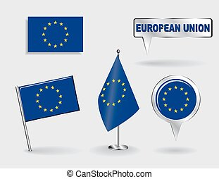 Set of European Union pin, icon and map pointer flags. Vector