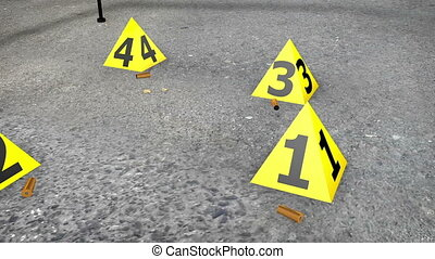 """Set of Evidence yellow marker near cartridge cases"""